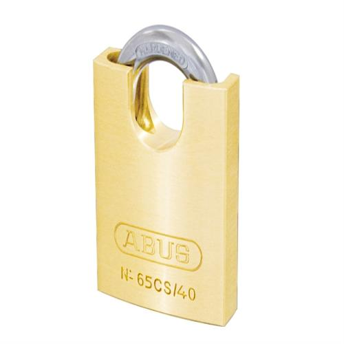 Abus 65 40mm Brass Padlock Close Shackle Card