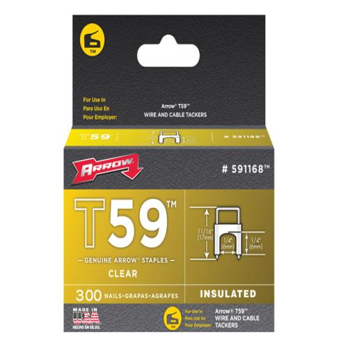 Arrow Insulated Staples (300) 6x6mm - Clear