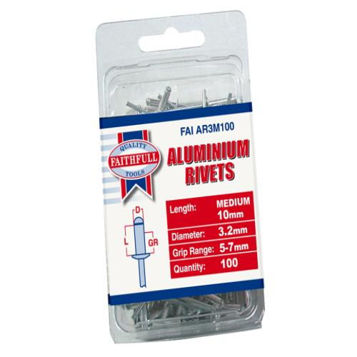 Faithfull Aluminium Rivets 3mm Medium