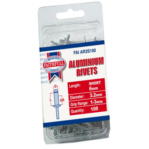 Faithfull Aluminium Rivets 3mm Short