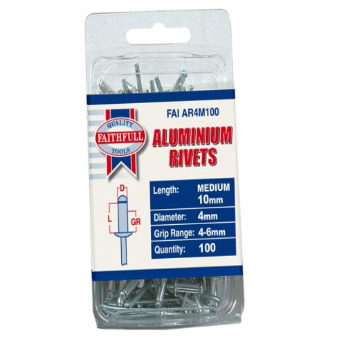 Faithfull Aluminium Rivets 4mm Medium