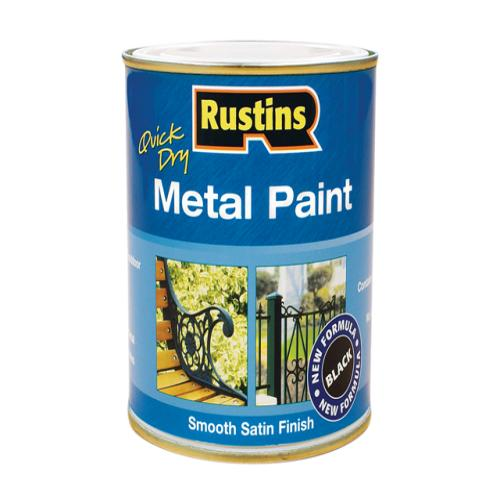 Rustins Metal Paint Smooth Satin Black 250ml