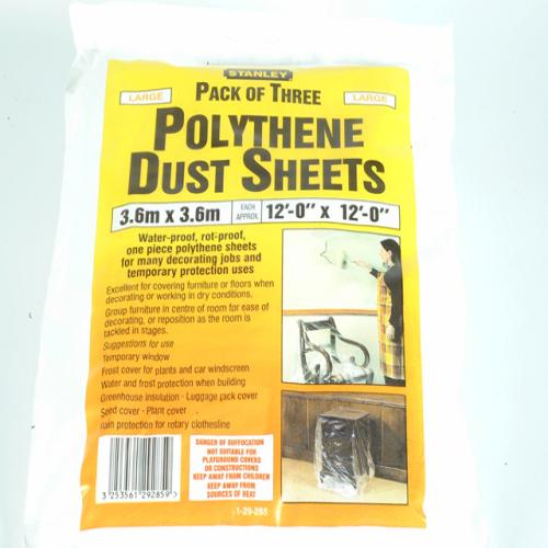 Stanley Polythene Dust Sheets (3) 3.6 X 3.6m