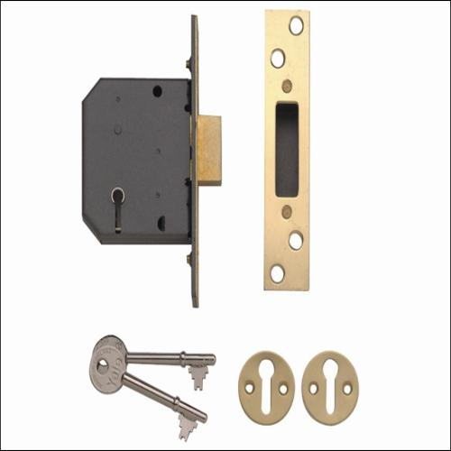 Yale Pm552 5 Lever Deadlock Smooth Brass 2.5